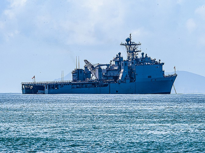 Photo courtesy of U.S. Navy. The dock landing ship USS Comstock off the coast of Coronado in 2016. General Dynamics NASSCO will repair and upgrade the ship in a deal worth a minimum of $100 million.