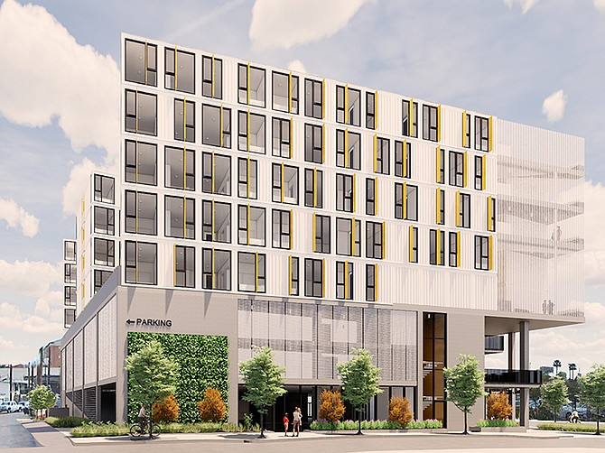 Rendering courtesy of LPA Design Studio. A $30 million City Heights project by Family Health Centers of San Diego will use shipping containers to create apartments. The project is located at the corner of Dayton Street and El Cajon Boulevard.