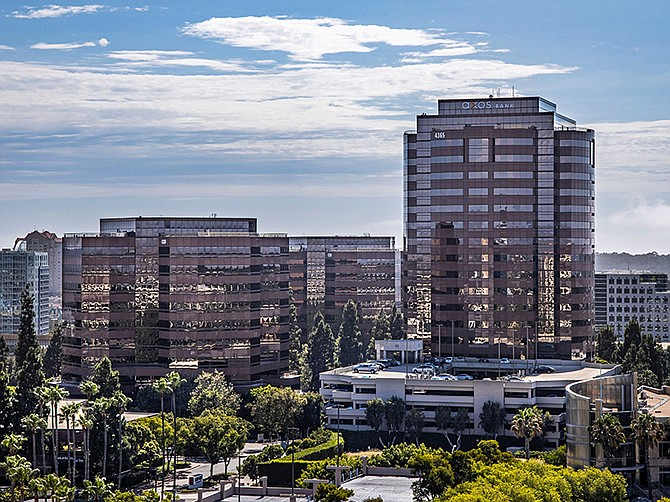 Photo courtesy of the Irvine Company. The Plaza office tower in UTC is among the Irvine Company's holdings certified as healthy buildings by the UL testing lab.