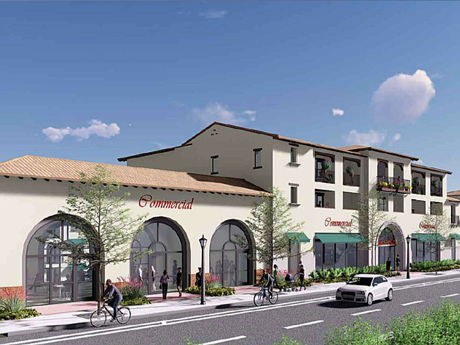 Rendering by Fairfield Residential as presented to the Poway City Council. A planned housing and commercial development at 12845 and 12941 Poway Road would give the city a walkable neighborhood
