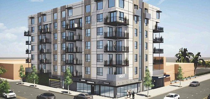 Rendering of proposed mixed-use development at 14557 Friar St. in Van Nuys.