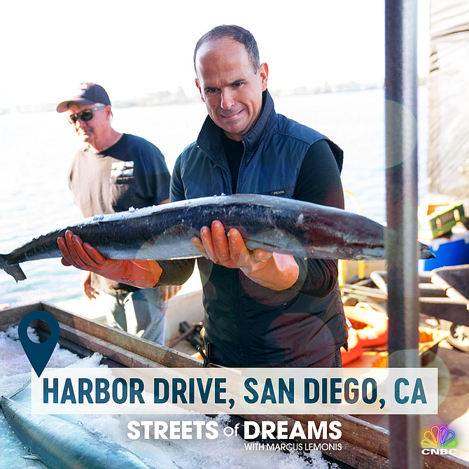 "Businessman and television personality Marcus Lemonis gets close to San Diego business in a new episode of ""Streets of Dreams."" Photo courtesy of CNBC."