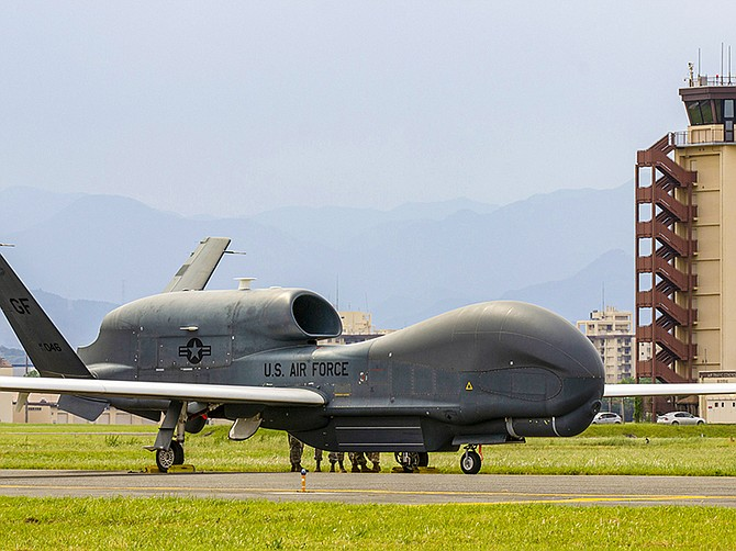 Photo courtesy of U.S. Air Force. A U.S. Air Force Global Hawk seen in May at Yokota Air Base in the Tokyo area. Japan is expected to get its own fleet of Global Hawks. The U.S. Air Force, acting on behalf of Japan, awarded Northrop Grumman a contract related to flying Global Hawks on Dec. 29.