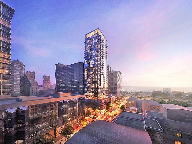 Rendering courtesy of Gensler. Forge Development Partners and Gensler architects plan to build a 34-story apartment tower on Beech Street at India Street in Little Italy.