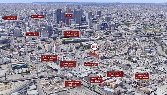 The development site is located near a Metro Gold Line station.
