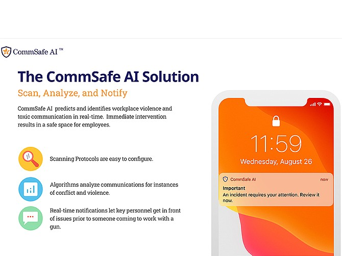 Photo courtesy of CommSafe AI. CommSafe AI is currently in beta testing with select clients, the company plans to release the full version to the commercial market in Q3 or Q4.