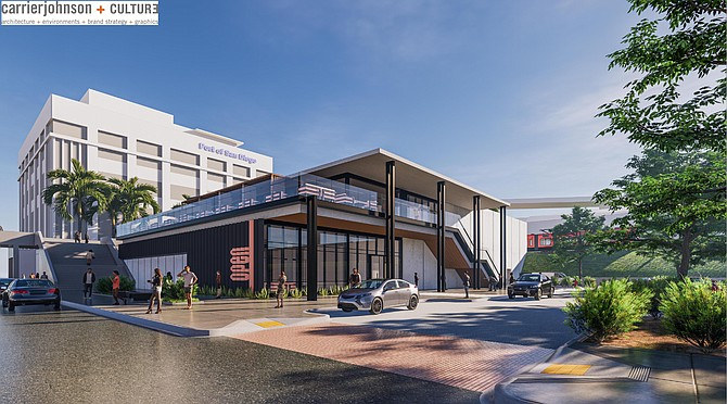 A rendering of Stay Open's pod hotel project in San Diego.