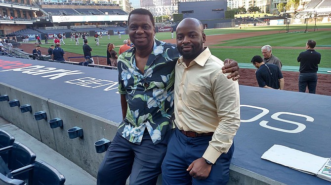 Photo courtesy of Allen Newsome. Father Allen Newsome and his son Lafayette Newsome at a San Diego Padres game in 2019.