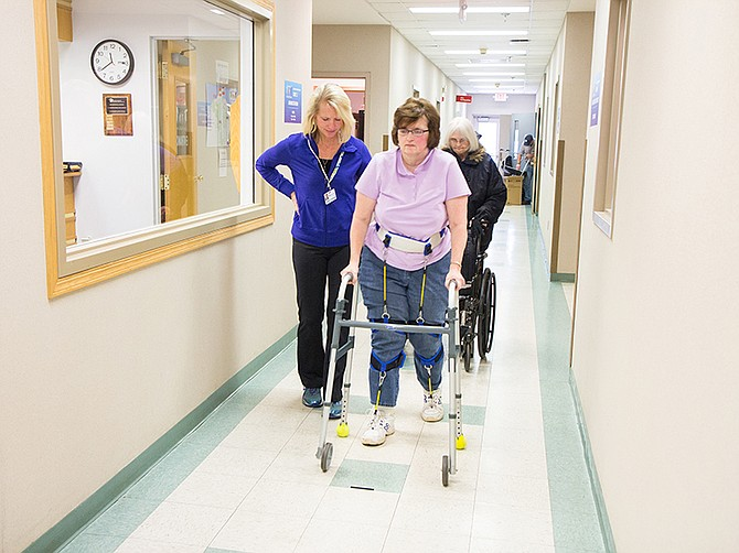 NewGait is a rehabilitation device used by physical therapists to help patients who have difficulties walking.