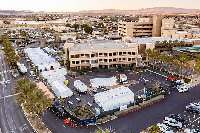 Aerial view of temporary field hospital in parking lot of Antelope Valley Hospital in Lancaster.