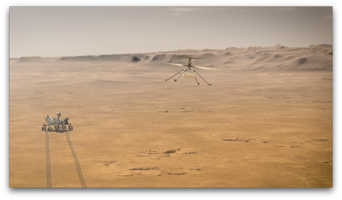 Rendering of Perseverance rover with Ingenuity helicopter on Martian surface.