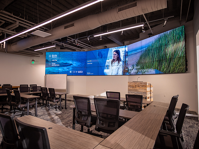 One of several video wall installations at UCI Beall Applied Innovation