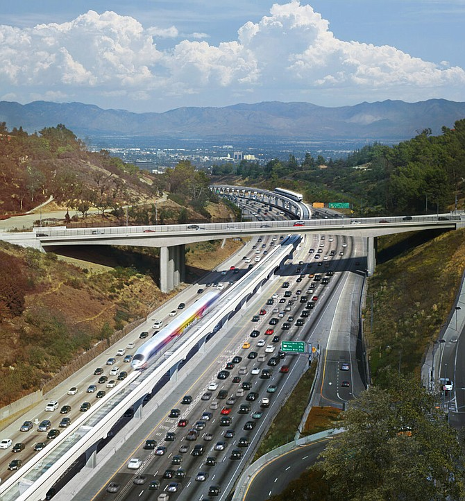 LA SkyRail Express' proposed monorail in the median of the 405 freeway.