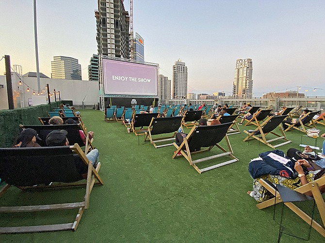 Photo Courtesy of Rooftop Cinema Club Embarcadero. Rooftop Cinema Club Embarcadero will reopen its San Diego operation on March 18. All staff and guest will be required to wear masks, according to the company's founder and CEO.