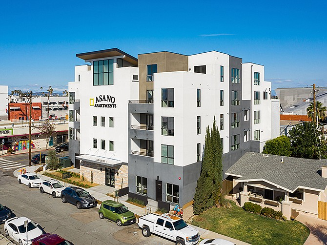 A recently completed apartment building in North Park's Art District pays tribute to Japanese-American artist Kyoko Asano.