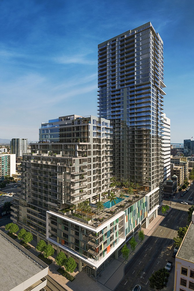 Bosa, the Canadian developer known for high-end condominium towers in downtown San Diego, has started leasing its first apartment project in San Diego. Rendering courtesy of Bosa.