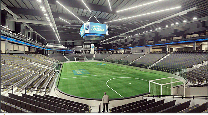 Arena Califino, the San Diego Sockers' planned home arena, is expected to start construction over the summer. Rendering Courtesy of Visit Oceanside.