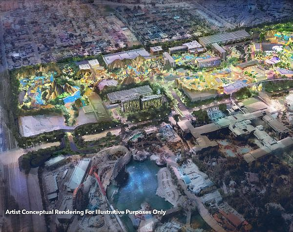 Westside rendering: possible immersive theme park that could include hotel, retail, dining, and entertainment