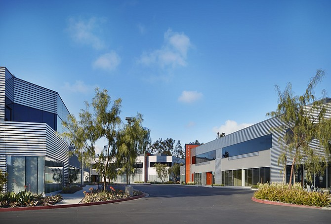Longfellow Real Estate Partners acquired The Oberlin business park in Sorrento Mesa with plans to raze the existing building and replace them with new structures geared toward life science companies. Photo courtesy of Longfellow Real Estate Partners.
