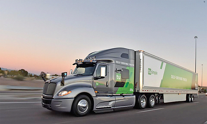 TuSimple makes self-driving semi-trucks and the AI-driven software that runs them. Photo courtesy of TuSimple.