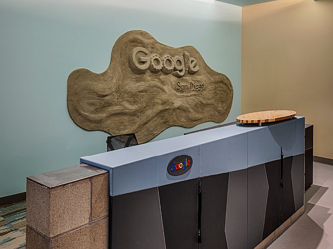 Google's San Diego office combines corporate elements with a distinct local feel. The wall art shows a sandcastle. Google is expanding to all four floors of its building in Sorrento Mesa. Photo courtesy of Google.