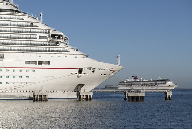 Carnival Panorama is docked until it can receive passengers.