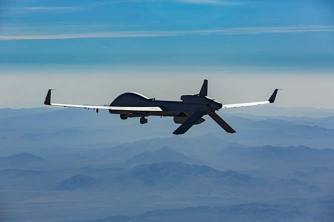 The Gray Eagle aircraft from General Atomics Aeronautical Systems has surpassed 1 million flight hours. This is the extended range version of the Gray Eagle. Photo Courtesy of General Atomics Aeronautical Systems Inc.