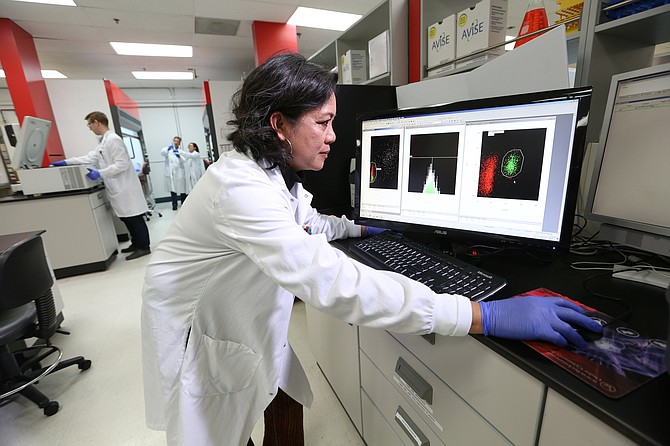 An Exagen lab team member examines a patient sample using CB-CAPS technology. Photo Courtesy of Exagen Inc.