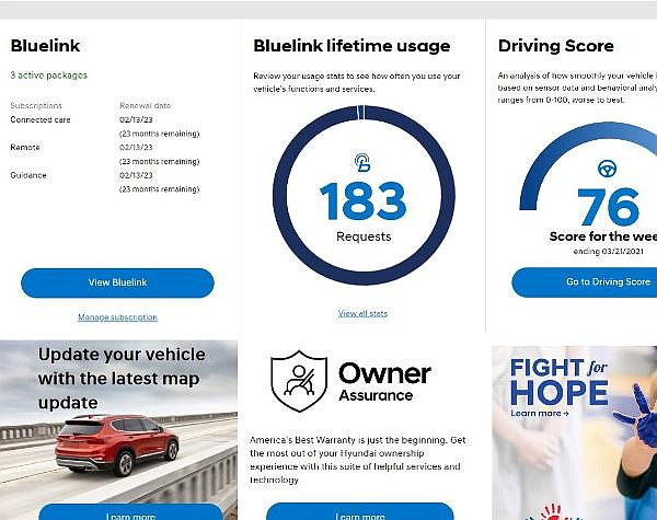 Tools through Hyundai Blue Link for usage-based insurance options