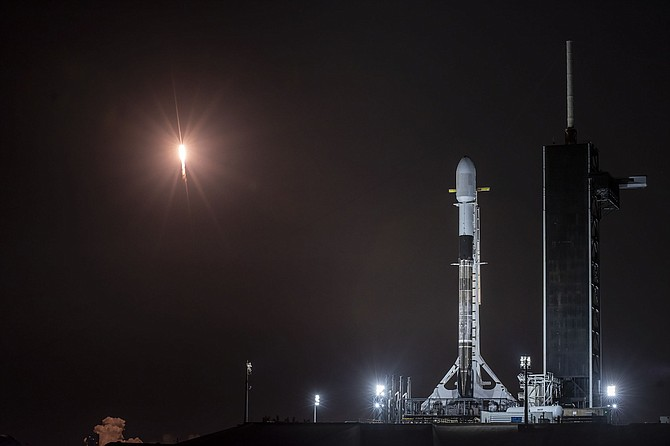 A SpaceX rocket ready to deploy the company's Starlink satellites.