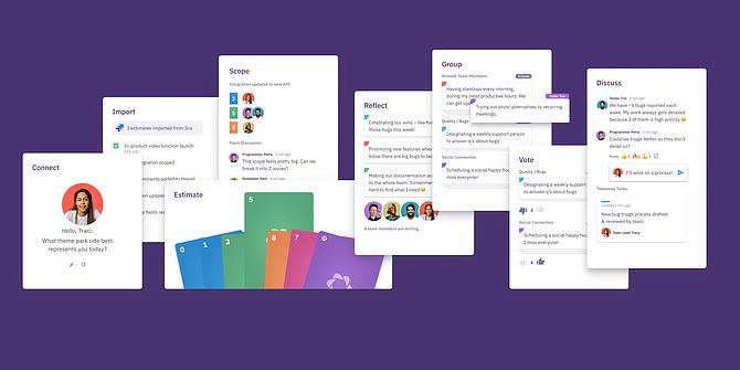 Parabol's platform works with communication software tools like Slack.