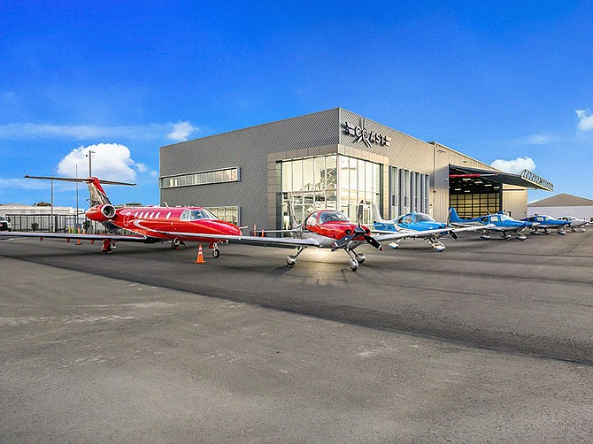 A new flight school and hangars have been completed at Montgomery Field as part of ongoing upgrades benefiting business travelers. Photo courtesy of C&S Companies.