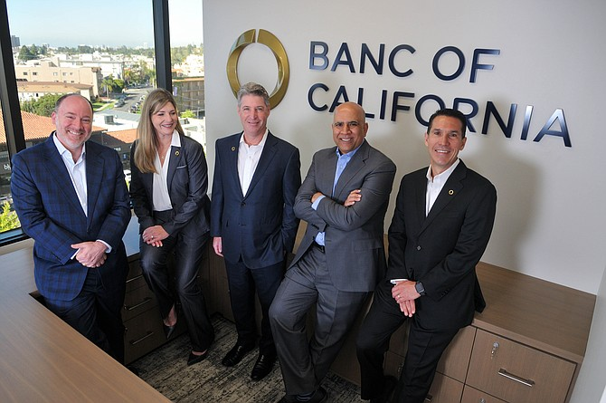 Banc of California's executive team includes (L-R) Jay Sanders, Lynn Hopkins, Jared Wolff, Hamid Hussain and John Sotoodeh.