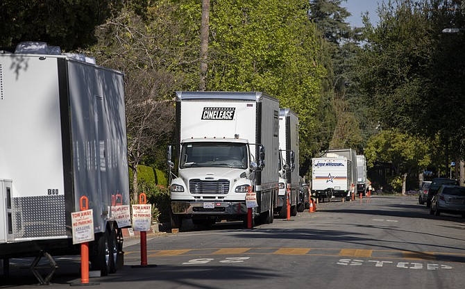 Cinema production trucks and trailers parked in in Altadena in April.