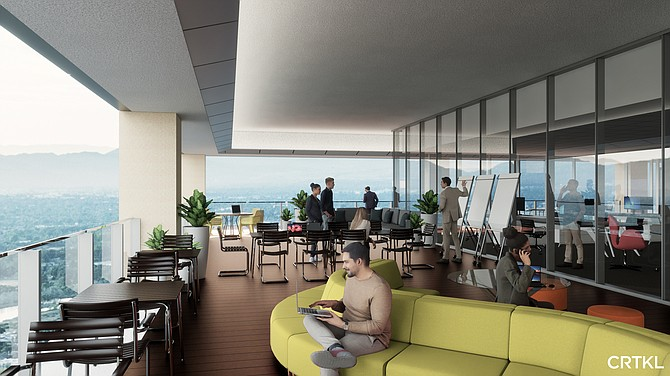 As this rendering shows, some office towers are adding outdoor work space.