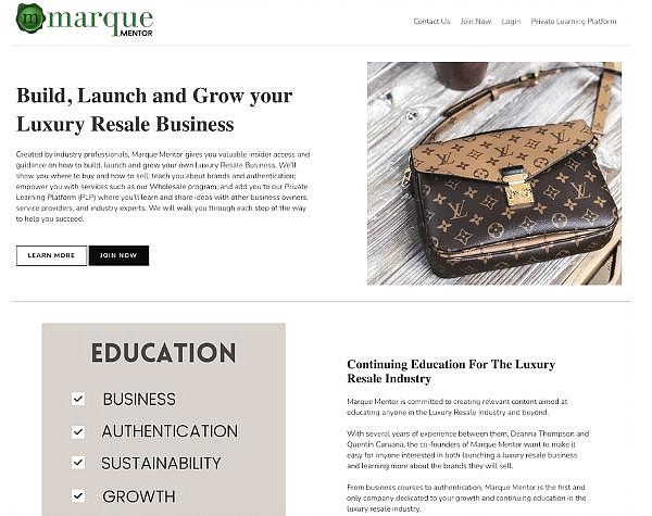 Marque Mentor program educational component to parent's pre-owned luxury wholesale business