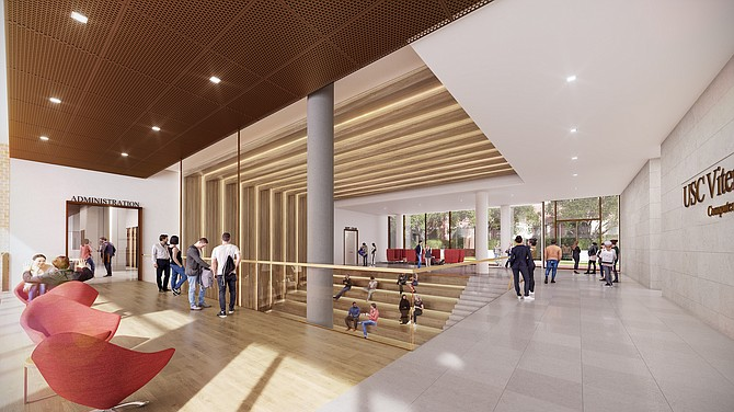 A rendering of USC's new computer science building.