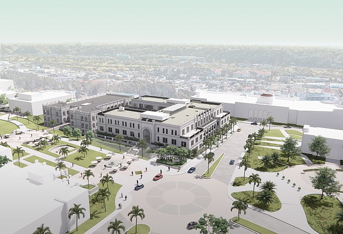 The University of San Diego will open a new business education center in 2022. Renderings courtesy of Delawie.