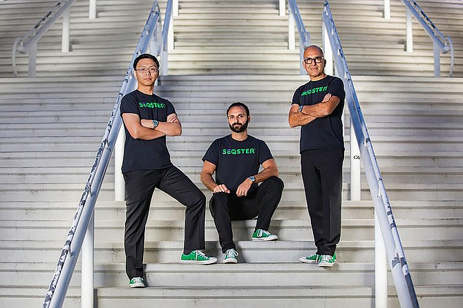 Ardy Arianpour, CEO (center), founded Seqster in 2016 along with biotech executives Dr. Xiang Li (left) and Dana Hosseini (right). Photo courtesy of Seqster.