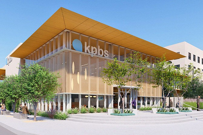 Safdie Rabines Architects have designed a $50 million renovation and expansion of KPBS television on the campus of San Diego State University. Rendering courtesy of Safdie Rabines Architects.