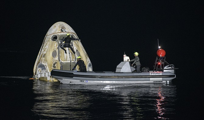 Four astronauts splashed down May 2 aboard a SpaceX-designed Crew Dragon capsule.