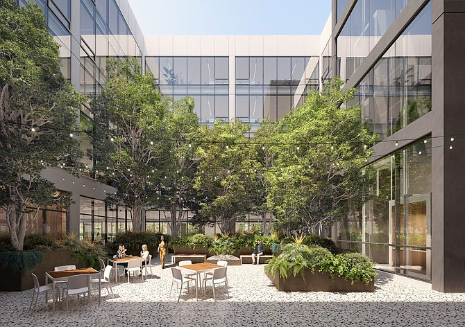The remodeled office will feature a landscaped outdoor space and filtration centers.
