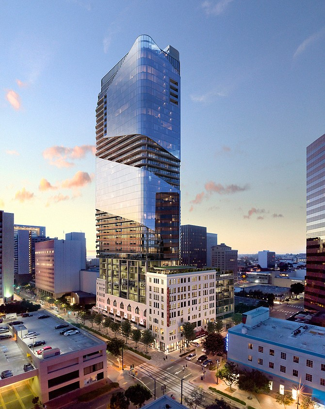 Caydon Property Group of Australia plans to build a condominium tower and boutique hotel on the downtown site of the California Theater. Rendering courtesy of Caydon Property Group.