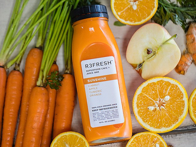 Sunshine is a mixture of carrot, apple and orange juices with turmeric. It's one of several juices produced and sold by R3fresh in Kearny Mesa. Photo courtesy of R3fresh Superfood Café & Juice Bar.