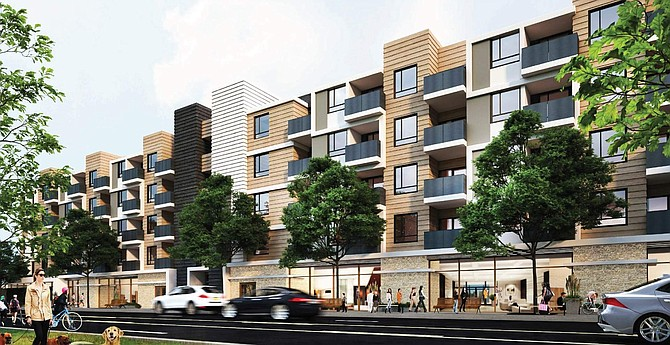 Rendering of proposed apartment complex at 7019-7049 N. Canoga Ave. in Canoga Park.