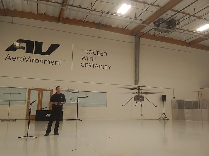 AeroVironment helicopter takes flight in Moorpark facility.