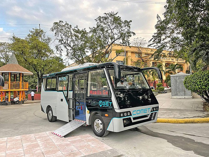 Global Electric Transport Worldwide operates several COMET minibuses in the Philippines. Poway T-shirt maker Tony Olaes is a driving force behind the service. Photo courtesy of GET.