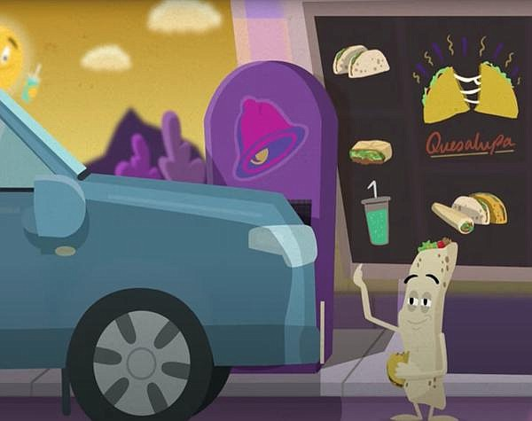 A still from the animated video detailing one Redditor's trek to get a Taco Bell Quesalupa