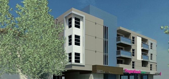 Rendering of proposed apartment complex at 4305 N. Lankershim Blvd. in Toluca Lake.