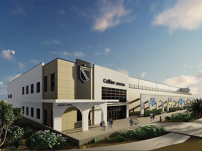 A new $40 million arena, being built in the El Corazon section of Oceanside, will be the new home of the San Diego Sockers. The arena will have 10 luxury suites, a 34,340 square-foot outdoor plaza, a restaurant, and seat 6,367 for soccer games. Rendering courtesy of the San Diego Sockers.